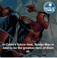 Spider-Man Fact! factsofcomics: FACTS OF  MMI  In Cable's future time, Spider-Man is  said to be the greatest hero of them  CHANCE TO MAKE  all  A DIFFERENCE. TO  FIGHT THE GOOD  FIGHT Spider-Man Fact! factsofcomics