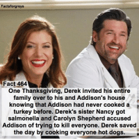 Fact 464😱 One Thanksgiving, Derek invited his entire family over to his and Addison's house, knowing that Addison had never cooked a turkey before. Derek's sister Nancy got salmonella and Carolyn Shepherd accused Addison of trying to kill everyone. Derek saved the day by cooking everyone hot dogs. — factsforgreys_patrick factsforgreys_katew greys greysanatomy katewalsh addisonmontgomery addisonmontgomeryshepherd addisonforbesmontgomery addisonforbesmontgomeryshepherd derekshepherd mcdreamy merder patrickdempsey dempeo shondaland abc ga tgit like facts like4like likeforlike dancemoms: Factsforgreys  Fact 464  One Thanksgiving, Derek invited his entire  family over to his and Addison's house  knowing that Addison had never cooked a  turkey before. Derek's sister Nancy got  salmonella and Carolyn Shepherd accused  Addison of trying to kill everyone. Derek saved  the day by cooking everyone hot dogs. Fact 464😱 One Thanksgiving, Derek invited his entire family over to his and Addison's house, knowing that Addison had never cooked a turkey before. Derek's sister Nancy got salmonella and Carolyn Shepherd accused Addison of trying to kill everyone. Derek saved the day by cooking everyone hot dogs. — factsforgreys_patrick factsforgreys_katew greys greysanatomy katewalsh addisonmontgomery addisonmontgomeryshepherd addisonforbesmontgomery addisonforbesmontgomeryshepherd derekshepherd mcdreamy merder patrickdempsey dempeo shondaland abc ga tgit like facts like4like likeforlike dancemoms