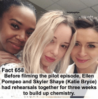 Abc, Facts, and Love: factsforgreys  Fact 658  Before filming the pilot episode, Ellen  Pompeo and Skyler Shaye (Katie Bryce)  had rehearsals together for three weeks  to build up chemistry. Fact 658😱 Before filming the pilot episode, Ellen Pompeo and Skyler Shaye (Katie Bryce) had rehearsals together for three weeks to build up chemistry. – Thank you so much to Skyler @itsskylershaye for submitting this fact!! We love you!!💓 — factsforgreys_ellen factsforgreys_skyler greys greysanatomy ellenpompeo meredithgrey merder dempeo katiebryce skylershaye shondaland abc ga tgit like facts like4like likeforlike dancemoms