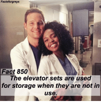 "Abc, Facts, and Memes: Factsforgreys  Fact 850  Ihe elevator sets are used  for storage when they are not in  use Fact 850😱 The elevator sets are used for storage when they are not in use. — I learned this fact on the set when I visited the @greysabc set in December! I'm going to start posting more facts that I picked up on the set, as well as some photos from my visit! To see more pictures of my set visit (and some of me with members of the cast), follow @alexaandmaddievisitgreys ! *PLEASE READ: ""Grey's Anatomy"" is filmed on a closed set. You can not visit the set unless you personally know a cast or crew member. To read about how I got to visit the set, read the first post on @alexaandmaddievisitgreys !* — factsforgreys_set greys greysanatomy greysset greysanatomyset shondaland abc ga tgit like facts likeforlike like4like dancemoms"