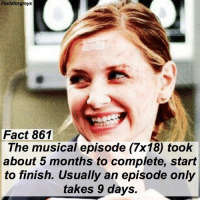 Abc, Facts, and Memes: Factsforgreys  Fact 861  The musical episode (7x18) took  about 5 months to complete, start  to finish. Usually an episode only  takes 9 days. Fact 861😱 The musical episode (7x18) took about 5 months to complete, start to finish. Usually an episode only takes 9 days. — Chandra Wilson told me this fact when I was on set, so I know it's true hahaha! Check out my post a couple posts back about the contest I'm hosting! The winner gets a t-shirt autographed by Chandra Wilson (Bailey)! — factsforgreys_show greys greysanatomy musicalepisode songbeneaththesong shondaland abc ga tgit like facts likeforlike like4like dancemoms