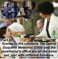 "Abc, Facts, and Memes: Factsforgreys  Fact 889  Scenes in the cafeteria, the Denny  Duquette Memorial Clinic and the  prosthetist's office are all the same  set, just with different furniture. Fact 889😱 Scenes in the cafeteria, the Denny Duquette Memorial Clinic, and the prosthetist's office are all the same set, just with different furniture. — I learned this fact when I visited the set of @greysabc ! You can read all about it and see a bunch of pictures on @alexaandmaddievisitgreys !! *PLEASE READ: ""Grey's Anatomy"" is filmed on a closed set. You can not visit the set unless you personally know a cast or crew member. To read about how I got to visit the set, read the first post on @alexaandmaddievisitgreys !* — factsforgreys_set greys greysanatomy greysset greysanatomyset cafeteria dennyduquettememorialclinic prosthetistsoffice shondaland abc ga tgit like facts likeforlike like4like dancemoms"