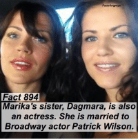 "Abc, Facts, and Memes: Factsforgreys  Fact 894  Marika's sister, Dagmara, is also  an actress. She is married to  Broadway actor Patrick Wilson. Fact 894😱 Marika's sister, Dagmara, is also an actress. She is married to Broadway actor Patrick Wilson. — *Though Patrick Wilson got his start on Broadway, he is known for many other productions as well, including ""The Conjuring"" and ""Insidious"". — factsforgreys_marika greys greysanatomy marikadominczyk elizaminnick ariliza dagmaradominczyk patrickwilson shondaland abc ga tgit like facts likeforlike like4like dancemoms"