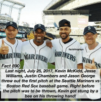 Fact 890😱 🚨 BREAKING NEWS 🚨 Last night, July 25, 2017, Kevin McKidd, Jesse Williams, Justin Chambers and Jason George threw out the first pitch at the Seattle Mariners vs Boston Red Sox baseball game. Right before the pitch was to be thrown, Kevin got stung by a bee on his throwing hand! — factsforgreys_jesse factsforgreys_justin factsforgreys_jason factsforgreys_kevin greys greysanatomy jessewilliams justinchambers kevinmckidd jasongeorge jacksonavery alexkarev owenhunt benwarren benley izzex jolex omelia crowen japril shondaland abc ga tgit like facts likeforlike like4like dancemoms: factsforgreys  MARINE MARINR ARINE  Fact 890  Last night, July 25, 2017, Kevin McKidd, Jesse  Williams, Justin Chambers and Jason George  threw out the first pitch at the Seattle Mariners vs  Boston Red Sox baseball game. Right before  the pitch was to be thrown, Kevin got stung by a  bee on his throwing hand! Fact 890😱 🚨 BREAKING NEWS 🚨 Last night, July 25, 2017, Kevin McKidd, Jesse Williams, Justin Chambers and Jason George threw out the first pitch at the Seattle Mariners vs Boston Red Sox baseball game. Right before the pitch was to be thrown, Kevin got stung by a bee on his throwing hand! — factsforgreys_jesse factsforgreys_justin factsforgreys_jason factsforgreys_kevin greys greysanatomy jessewilliams justinchambers kevinmckidd jasongeorge jacksonavery alexkarev owenhunt benwarren benley izzex jolex omelia crowen japril shondaland abc ga tgit like facts likeforlike like4like dancemoms