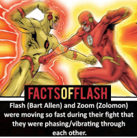 Memes, Zoom, and Bart: FACTSOFFLASH  Flash (Bart Allen) and Zoom (Zolomon)  were moving so fast during their fight that  they were phasing/vibrating through  each other. ⚡️