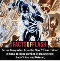 Batman, Future, and Memes: FACTSOFFLASH  Future Barry Allen from the New 52 was trained  in hand-to-hand combat by Deathstroke,  Lady Shiva, and Batman,