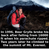 Bear Grylls: Faete  In 1996, Bear Grylls broke his  back after falling from 16000  ft when his parachute ripped.  Two years later he climbed to  the summit of Mt. Everest.