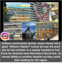 "did you know fact point , education amazing dyk unknown facts daily facts💯 didyouknow follow follow4follow f4f factpoint instafact awesome world worldfacts like like4ike tag friends Don't forget to tag your friends 🤘: FaGEPoint  Indiana construction worker Jason Haney hid a  giant Where's Waldo?"" cutout all over his work  site for the children in a nearby hospital to find.  Once he received word that they'd found him, he  moved Waldo to another location so they could  start looking for him again. did you know fact point , education amazing dyk unknown facts daily facts💯 didyouknow follow follow4follow f4f factpoint instafact awesome world worldfacts like like4ike tag friends Don't forget to tag your friends 🤘"