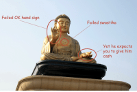 Ok Hand Sign: Failed OK hand sign  Failed swastika  Yet he expects  you to give him  cash