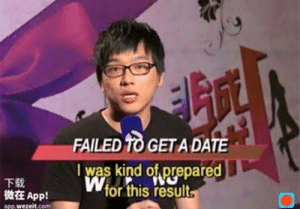 Dank, Memes, and Target: FAILED TO GETA DATE  I was kind of prepared  Wfor this result  下载  微在Appl  app wezeit.com me irl by zyphelion FOLLOW HERE 4 MORE MEMES.