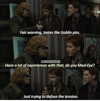 """Birthday, Memes, and Happy Birthday: Fair warning, tastes like Goblin piss.  @iloveharrypotter9  Have a lot of experiences with that, do you Mad-Eye?  Just trying to defuse the tension. + Double Tap & Comment! QOTD: Who's your favorite Hogwarts professor? = ➡️❤️ March 29: Happy Birthday, Brendan Gleeson! He played Alastor """"Mad-Eye"""" Moody in the HarryPotter films. = For more of my posts follow @mypotterquotes @mypotterfacts @bookgasms ❤️"""