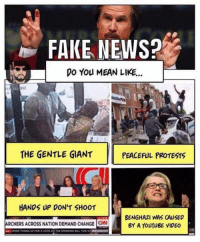 Cold Dead Hands: FAKE NEWS?  DO You MEAN LIKE...  THE GENTLE GIANT  PEACEFUL PROTESTS  HANDS UP DON'T SHOOT  BENGHAZI WAS CAUSED  ARCHERS ACROss NATION DEMAND CHANGE CN  BY A YouTugE VIDEO Cold Dead Hands