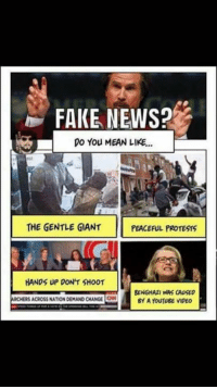 Hmmm...: FAKE NEWS?  Do You MEAN LIKE...  THE GENTLE GIANT  PEACEFUL PROTESTS  HANDS UP DON'T SHOOT  BENGHAZI WAS CAUSED  ARCHERSACROSSNATION DEMAND CHANGE ON  BY A YouTugE VIDEO Hmmm...