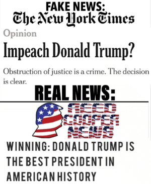 "Crime, Donald Trump, and Fake: FAKE NEWS:  Opinion  Impeach Donald Trump?  Obstruction of justice is a crime. The decision  REAL NEWS:  s clear.  WINNING: DONALD TRUMP IS  THE BEST PRESIDENT IN  AMERICAN HISTORY New York Times: ""Impeach Donald Trump?"""