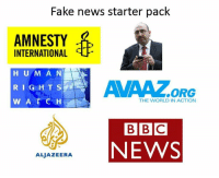 Fake News: Fake news starter pack  AMNESTY  INTERNATIONAL  HUMAN  RIGHTS  W A T C H  THE WORLD IN ACTION  BBC  NEWS  ALJAZEERA