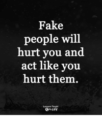 <3: Fake  people will  hurt you and  act like you  hurt them.  Lessons Taught  QBy LIFE <3