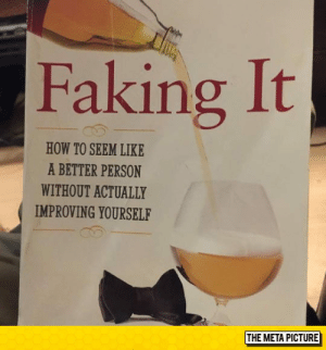 lolzandtrollz:  The Book I Need: Faking It  HOW TO SEEM LIKE  A BETTER PERSON  WITHOUT ACTUALLY  IMPROVING YOURSELF  THE META PICTURE lolzandtrollz:  The Book I Need