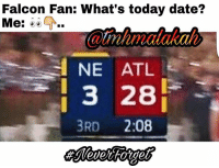 Memes, Date, and Today: Falcon Fan: What's today date?  Me:  NE ATL  3 28  3RD  2:08 🙄🙈😂😂💣