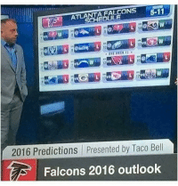 These predictions were way off 😂: FALCONS  5-11  ATLA  2016 Predictions presented by Taco Bell  Falcons 2016 outlook These predictions were way off 😂