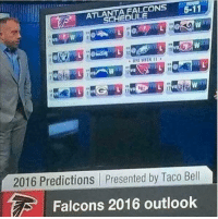 Welp: FALCONS  5-11  ATLA  CHEDULE  2016 Predictions presented by Taco Bell  Falcons 2016 outlook Welp