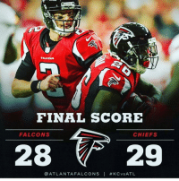 FALCONS  FINAL SCORE  FALCONS  CHIEFS  ATLANTA FALCONS I KC vs ATL 😩 So close but mistakes mistakes ....oh well still love my squad even tho they frustrate TF outta me ❤️🖤❤️🖤 shanahan want to see these hands in the streets I see Falcons birdgang riseup atlanta