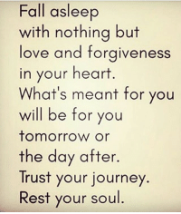 Facts, Fall, and Goals: Fall asleep  with nothing but  love and forgiveness  in your heart  What's meant for you  will be for you  tomorrow or  the day after  Trust your journey  Rest your soul Go Follow👉@taa_king_smiles_👈for lit posts! taa_king_smiles_ badgirl love followback realtalk facts goals lovequotes relationshipgoals photooftheday truestory sexuall inlove powercouples like look quotes relationships picoftheday webstagram quotesofthegram tagafriend followme truelove bestoftheday worth newyorkcity newyork truthbetold