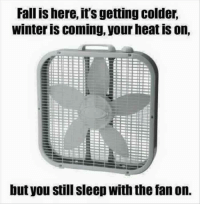 :) ME: Fall is here, it's gettingcolder.  Winter IS COming, your neat IS on,  but you still sleep with the fan on. :) ME