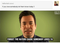 Love, Tumblr, and Today: fallforitall asked  If you love somebody let them know today   LNJF ON  TUMBLR  FORGET THE HATERS CAUSE SOMEBODY LOVES YA