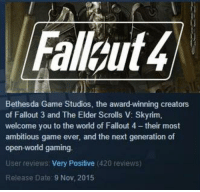 Fallout 4 reviews have reached the magic number: Fallgut4  Bethesda Game Studios, the award-winning creators  of Fallout 3 and The Elder Scrolls V: Skyrim,  welcome you to the world of Fallout 4 -their most  ambitious game ever, and the next generation of  open-world gaming.  User reviews Very Positive  (420 reviews)  Release Date: 9 Nov, 2015 Fallout 4 reviews have reached the magic number