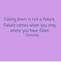 Falling Down: Falling down is not a failure  Failure comes when you stay  where you have fallen  Socrates