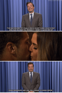 "<p><b>- Jimmy Fallon's Monologue; August 2, 2016</b></p><p>[ <a href=""http://www.nbc.com/the-tonight-show/video/bachelorette-season-finale-tips-for-rio-olympic-swimmers-monologue/3078625"" target=""_blank"">Part 1</a> / <a href=""http://www.nbc.com/the-tonight-show/video/donald-trump-kicked-out-a-crying-baby-tonight-show-netflix-picks-monologue/3078626"" target=""_blank"">Part 2</a> ]</p>:  #FALLON  TONI  THE BACHELORETTE FINALE WAS A HUGE, THREE-HOUR EVENT  AND JUST IN CASE YOU MISSED IT,HERE'SAQUICK RECAP  EVEN GROWNUPS ARE LIKE ""EW, KISSING IS KINDA GRosS. <p><b>- Jimmy Fallon's Monologue; August 2, 2016</b></p><p>[ <a href=""http://www.nbc.com/the-tonight-show/video/bachelorette-season-finale-tips-for-rio-olympic-swimmers-monologue/3078625"" target=""_blank"">Part 1</a> / <a href=""http://www.nbc.com/the-tonight-show/video/donald-trump-kicked-out-a-crying-baby-tonight-show-netflix-picks-monologue/3078626"" target=""_blank"">Part 2</a> ]</p>"