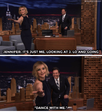 """<p><a href=""""https://www.youtube.com/watch?v=m0dtn1BNQOA"""" target=""""_blank"""">Jennifer Lawrence confronts Jimmy about leaving her dancing with J. Lo alone!</a></p><p>Jimmy eventually <a href=""""https://www.youtube.com/watch?v=3UzqelfmrA4&amp;list=UU8-Th83bH_thdKZDJCrn88g"""" target=""""_blank"""">got his dance with Jennifer Lopez!</a><br/></p><figure data-orig-width=""""400"""" data-orig-height=""""200"""" class=""""tmblr-full""""><img src=""""https://78.media.tumblr.com/ecbd7c24f0ca0b99e9e2d4ae8dc36491/tumblr_inline_nqmbs6ojil1qgt12i_500.gif"""" alt=""""image"""" data-orig-width=""""400"""" data-orig-height=""""200""""/></figure>:  #FALLON TONIGHT  JENNIFER: IT'S JUST ME, LOOKING ATJ. LO AND GOING   #FALLONTONIGHT  """"DANCE WITH ME."""" <p><a href=""""https://www.youtube.com/watch?v=m0dtn1BNQOA"""" target=""""_blank"""">Jennifer Lawrence confronts Jimmy about leaving her dancing with J. Lo alone!</a></p><p>Jimmy eventually <a href=""""https://www.youtube.com/watch?v=3UzqelfmrA4&amp;list=UU8-Th83bH_thdKZDJCrn88g"""" target=""""_blank"""">got his dance with Jennifer Lopez!</a><br/></p><figure data-orig-width=""""400"""" data-orig-height=""""200"""" class=""""tmblr-full""""><img src=""""https://78.media.tumblr.com/ecbd7c24f0ca0b99e9e2d4ae8dc36491/tumblr_inline_nqmbs6ojil1qgt12i_500.gif"""" alt=""""image"""" data-orig-width=""""400"""" data-orig-height=""""200""""/></figure>"""