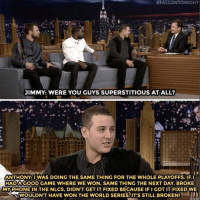 Anthony Rizzo may not have a phone, but he's got a ring!  (@FallonTonight): FALLON TONIGHT  JIMMY: WERE YOU GUYS SUPERSTITIOUS AT ALL?  ANTHONY: I WAS DOING THE SAMETHING FOR THE WHOLE PLAYOFFS. IFI  HADAMGOOD GAME WHERE WE WON, SAME THING THE NEXT DAY. BROKE  MY PHONE IN THE NLCS, DIDNT GET IT FIXED BECAUSE IFI GOT IT FIXEDWE  WOULDN'T HAVE WON THE WORLD SERIES IT'S STILL BROKEN! Anthony Rizzo may not have a phone, but he's got a ring!  (@FallonTonight)
