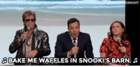 """Molly, Target, and youtube.com: FALLONT  GHT  BAKE ME WAFFLES IN SNOOKIS BARN. <p><a href=""""https://www.youtube.com/watch?v=Rlq0Ugn-G3o&amp;index=5&amp;list=UU8-Th83bH_thdKZDJCrn88g"""" target=""""_blank"""">Jimmy, Denis Leary, and Molly Shannon sing Def Leppard, TLC, and Ed Sheeransongs (but use nonsense lyrics)!</a><br/></p>"""
