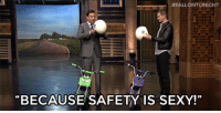 "Sexy, Spider, and SpiderMan:  #FALLONTONICHT  BECAUSE SAFETY IS SEXY!"" <p>Jimmy and Andrew Garfield put safety first before their matchup in <a href=""https://www.youtube.com/watch?v=NPrMK9Jqdy4&amp;list=UU8-Th83bH_thdKZDJCrn88g"" target=""_blank"">Pocket Bike Race</a> (Spider-Man bike edition)!</p>"