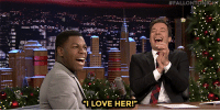 "John Boyega, Love, and Star Wars:  #FALLONTONIGHr  ""I LOVE HER!P <p><a href=""http://www.nbc.com/the-tonight-show/video/jimmy-surprises-john-boyega-with-outtakes-from-star-wars-a-cappella/2956980"" target=""_blank"">John Boyega can FINALLY talk about his role in Star Wars: The Force Awakens!</a></p>"