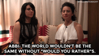 "youtube.com, World, and youtube.com:  #FALLONTONIGHT  ABBI: THE WORLD WOULDN'T BE THE  SAME WITHOUT ""WOULDYOU RATHER""S <p><b>WEB EXCLUSIVE: </b>Abbi Jacobson and Ilana Glazer hung out backstage debate the advantage and disadvantages of having a belly button! </p><figure class=""tmblr-embed"" data-provider=""youtube"" data-orig-width=""540"" data-orig-height=""304"" data-url=""https%3A%2F%2Fwww.youtube.com%2Fwatch%3Fv%3Dq9zC0YOYwcA%26list%3DPLykzf464sU98iBX48N5iuHzslodP7Hzci""><iframe width=""500"" height=""281"" id=""youtube_iframe"" src=""https://www.youtube.com/embed/q9zC0YOYwcA?feature=oembed&amp;enablejsapi=1&amp;origin=https://safe.txmblr.com&amp;wmode=opaque"" frameborder=""0"" allowfullscreen=""""></iframe></figure>"