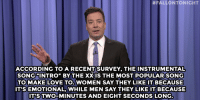"""Jimmy Fallon, Love, and Target:  #FALLONTONIGHT  ACCORDING TO A RECENT SURVEY, THEINSTRUMENTAL  SONGINTRO"""" BY THE XXIS THE MOST POPULAR SONG  TO MAKE LOVE TO. WOMEN SAY THEY LIKE IT BECAUSE  T'S EMOTIONAL, WHILE MEN SAY THEY LIKE IT BECAUSE  IT'S TWO-MINUTES AND EIGHT SECONDS LONG <p><b>- Jimmy Fallon&rsquo;s Monologue; February 17, 2015</b></p><p><b>[ <a href=""""http://www.nbc.com/the-tonight-show/segments/112826"""" target=""""_blank"""">Part 1</a> / <a href=""""http://www.nbc.com/the-tonight-show/segments/112831"""" target=""""_blank"""">Part 2</a> ]</b></p>"""