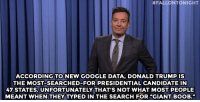 "Donald Trump, Google, and Jimmy Fallon:  #FALLONTONIGHT  ACCORDING TO NEW GOOGLE DATA, DONALD TRUMP IS  THE MOST-SEARCHED-FOR PRESIDENTIAL CANDIDATE IN  47 STATES. UNFORTUNATELY THAT S NOT WHAT MOST PEOPLE  MEANT WHEN THEY TYPED IN THE SEARCH FOR ""GIANT BOOB."" <p><b>- Jimmy Fallon's Monologue; June 22, 2015</b></p><p><b>[ <a href=""http://www.nbc.com/the-tonight-show/segments/149801"" target=""_blank"">Part 1</a> / <a href=""http://www.nbc.com/the-tonight-show/segments/149871"" target=""_blank"">Part 2</a> ]</b></p>"