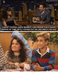 """<p><a href=""""http://www.nbc.com/the-tonight-show/segments/129166"""" target=""""_blank"""">Carla Gugino's character had a falling out with Zack Morris on an early episode of Saved By the Bell!</a></p>: """""""" #FALLONTONIGHT  CARLA:I PLAYED [ZACK MORRIS'] GIRLFRIEND FOR A SHORT  PERIOD OF TIME UNTILI FOUND OUT HE LIED ABOUT HIS AGE.   <p><a href=""""http://www.nbc.com/the-tonight-show/segments/129166"""" target=""""_blank"""">Carla Gugino's character had a falling out with Zack Morris on an early episode of Saved By the Bell!</a></p>"""