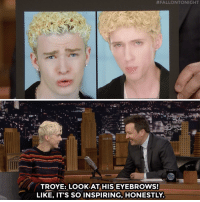 "Troye Sivan replicated Justin Timberlake's frosted tips for the ""1999″ music video.:  #FALLONTONIGHT  ese  TROYE: LOOK AT HIS EYEBROWS!  LIKE, IT'S SO INSPIRING, HONESTLY Troye Sivan replicated Justin Timberlake's frosted tips for the ""1999″ music video."