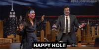 "<p><a href=""https://www.youtube.com/watch?v=NYvO9m0zoMQ"" target=""_blank"">Jimmy and Priyanka Chopra got messy with face paint in honor of Holi!</a></p>:  #FALLONTONIGHT  HAPPY HOLI! <p><a href=""https://www.youtube.com/watch?v=NYvO9m0zoMQ"" target=""_blank"">Jimmy and Priyanka Chopra got messy with face paint in honor of Holi!</a></p>"