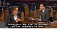 "<p>Kevin Bacon had to rent Footloose <a href=""https://www.youtube.com/watch?v=-yf6z22Kj2Y&amp;list=UU8-Th83bH_thdKZDJCrn88g&amp;index=2"" target=""_blank"">to re-learn the dance moves for his 30th anniversary re-creation</a> of some of the scenes on our show!</p><p>[ <a href=""http://www.nbc.com/the-tonight-show/segments/113301"" target=""_blank"">Part 2</a> ]</p>: FALLONTONIGHT  IHAD TO GO AND RENT FOOTLOOSE ON NETFLIX,  BECAUSEI DIDN'T HAVE THE MOVIE.. <p>Kevin Bacon had to rent Footloose <a href=""https://www.youtube.com/watch?v=-yf6z22Kj2Y&amp;list=UU8-Th83bH_thdKZDJCrn88g&amp;index=2"" target=""_blank"">to re-learn the dance moves for his 30th anniversary re-creation</a> of some of the scenes on our show!</p><p>[ <a href=""http://www.nbc.com/the-tonight-show/segments/113301"" target=""_blank"">Part 2</a> ]</p>"