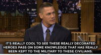 """John Cena, Target, and American:  #FALLONTONIGHT  IT'S REALLY COOL TO SEE THESE REALLY DECORATED  HEROES PASS ON SOME KNOWLEDGE THAT HAS REALLY  BEEN KEPT TO THE MILITARY TO THESE CIVILIANS. <p><a href=""""http://www.nbc.com/the-tonight-show/video/john-cenas-american-grit-is-the-greatest-show-youll-ever-see/3010548"""" target=""""_blank"""">In John Cena&rsquo;s new show, civilians learn from military mentors</a>.<br/></p>"""