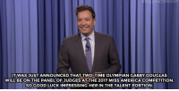 "America, Kfc, and Target: FALLONTONIGHT  ITWASJUST ANNOUNCED THAT TWO-TIME OLYMPIAN GABBY DOUGLAS  WILL BE ON THE PANEL OF JUDGES AT THE 2017 MISS AMERICA COMPETITION  SOGOOD LUCK IMPRESSING HER IN THE TALENT PORTION <h2><a href=""http://www.nbc.com/the-tonight-show/video/gabby-douglas-to-judge-miss-america-pageant-kfc-extra-crispy-sunscreen-monologue/3088569"" target=""_blank"">""Nice baton twirling. Can you do a triple backflip with a twist?""</a></h2>"