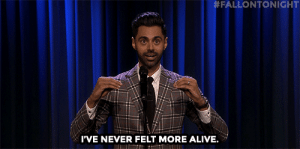 Hasan Minhaj recalls when he stole his high school chemistry solutions manual in Tonight Show Storytime:  #FALLONTONIGHT  I'VE NEVER FELT MORE ALIVE. Hasan Minhaj recalls when he stole his high school chemistry solutions manual in Tonight Show Storytime