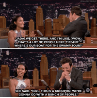 """Target, Will Smith, and Wow:  #FALLONTONIGHT  JADA: WE GET THERE, AND I'M LIKE, """"WOW;  THAT'S A LOT OF PEOPLE HERE;TIFFANY.  WHERE'S OUR BOAT FOR THE SWAMP TOUR?""""  SHE SAID, """"GIRL, THIS IS A GROUPON. W  GONNA GO WITH A BUNCH OF PEOPLE."""" <p><a href=""""https://www.youtube.com/watch?v=HmxgD0kVR0w"""" target=""""_blank"""">That time Jada and Will Smith thought they were the only ones in on the Groupon deal…</a></p>"""