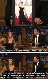 """<p><a href=""""https://www.youtube.com/watch?v=60XuePC4P6o&amp;list=UU8-Th83bH_thdKZDJCrn88g&amp;index=2"""" target=""""_blank"""">Jennifer Garner thinks her Oscars dress may have been a liiittle too tight&hellip;</a><br/></p>:  #FALLONTONIGHT   JEN: EVERYTHING IN HERE STARTED TO FREAK RIGHT OUT.   FALLONTONIGHT  I SAID, I'M GONNA HAVE TO STAND UP-AND [MY FRIEND]O-  SAID, """"IF YOU STAND UP,THEYIRE GONNA THINK YOU'RE  KANYE WEST. THEY'RE GONNA THINK YOU'RE PROTESTING."""" <p><a href=""""https://www.youtube.com/watch?v=60XuePC4P6o&amp;list=UU8-Th83bH_thdKZDJCrn88g&amp;index=2"""" target=""""_blank"""">Jennifer Garner thinks her Oscars dress may have been a liiittle too tight&hellip;</a><br/></p>"""