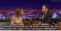 """<p><a href=""""https://www.youtube.com/watch?v=_USPvf7FYQo&amp;list=UU8-Th83bH_thdKZDJCrn88g&amp;index=3"""" target=""""_blank"""">Jennifer Lopez pulls out all the stops for her new Vegas show</a>&hellip;<br/></p>:  #FALLONTONIGHT  JENNIFER: ATTHE END OF THE SHOW, DEAD. l'M LIKE,  OH MY GOD,I HAVE TO DO THIS AGAIN TOMORROW?"""" <p><a href=""""https://www.youtube.com/watch?v=_USPvf7FYQo&amp;list=UU8-Th83bH_thdKZDJCrn88g&amp;index=3"""" target=""""_blank"""">Jennifer Lopez pulls out all the stops for her new Vegas show</a>&hellip;<br/></p>"""