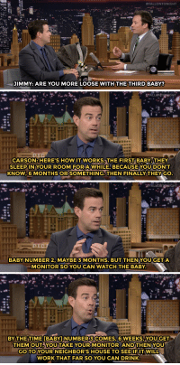"""Advice, Target, and Work:  #FALLONTONIGHT  JIMMY: ARE YOU MORE LOOSE WITH THE THIRD BABY?   CARSON:HERE'S HOW IT WORKS THE FIRST BABY,THEY  SLEEPINYOUR ROOM FORAWHILE, BECAUSE YOU DON'T  KNOW.6 MONTHSORSOMETHING. THEN FINALLY THEYGO   BABY NUMBER 2, MAYBE 3 MONTHS. BUT THENYOUGETA  MONITOR SO YOU CAN WATCH THE BABY.   BY THE TIME [BABYINUMBER3COMES,6 WEEKS,YOU GET  THEMOUT, YOU TAKE YOUR MONITOR AND THEN YOU  GO TO YOUR NEIGHBOR'S HOUSE TO SEEIFITWILL  WORK THAT FAR SO YOU CAN DRINK <p>Carson Daly took some time from hosting <a class=""""tumblelog"""" href=""""http://tmblr.co/mE6BY33RISlXbbzyireO4Rg"""" target=""""_blank"""">nbcthevoice</a> to<a href=""""http://www.nbc.com/the-tonight-show/segments/12331"""" target=""""_blank""""> give Jimmy some parenting advice!</a></p>"""